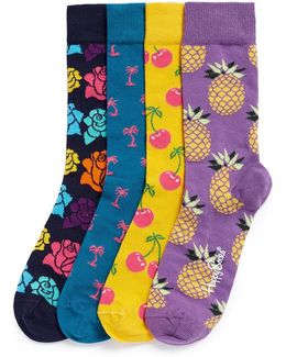 Pop Mixed Pattern Socks 4-pair Gift Box