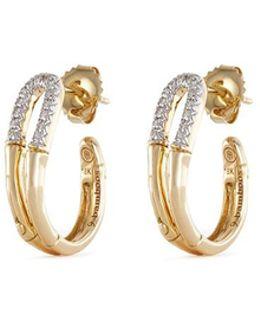 Diamond 18k Yellow Gold Small Bamboo Hoop Earrings