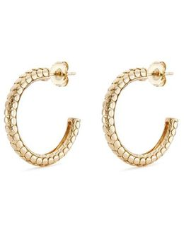 18k Yellow Gold Small Dotted Hoop Earrings