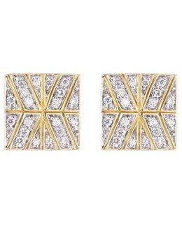 Diamond 18k Yellow Gold Square Stud Earrings