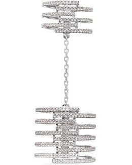 'gatsby Double' Diamond 18k White Gold Chain Ring