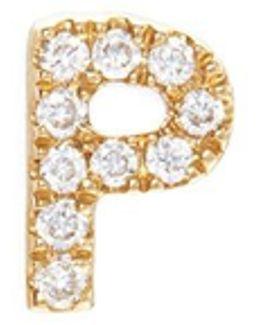 Diamond 18k Yellow Gold Letter Charm – P