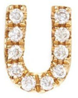 Diamond 18k Yellow Gold Letter Charm – U