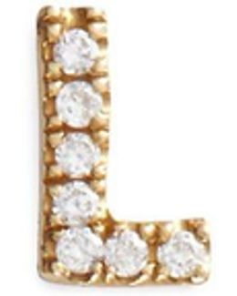 Diamond 18k Yellow Gold Letter Charm – L