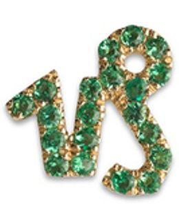 18k Yellow Gold Emerald Zodiac Charm - Capricorn