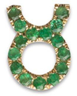 18k Yellow Gold Emerald Zodiac Charm - Taurus