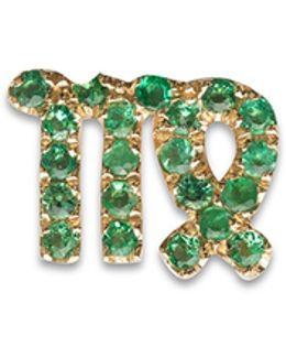 18k Yellow Gold Emerald Zodiac Charm - Virgo