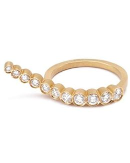 'escalier De Lune' Diamond 18k Yellow Gold Wavy Ring