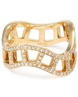 'échelle Diamant' Diamond 18k Yellow Gold Cutout Wavy Ring