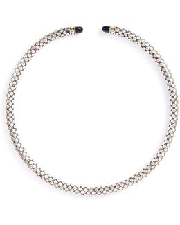 Onyx Silver Dotted Coil Necklace