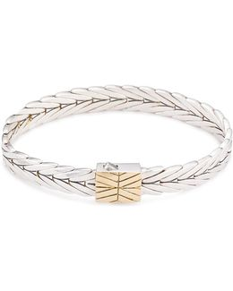 18k Yellow Gold Silver Weave Effect Link Chain Bracelet