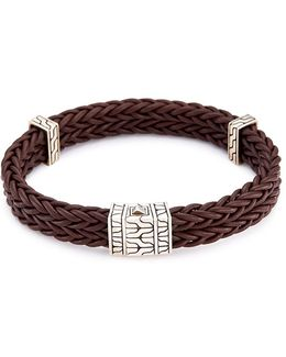Silver Charm Double Braided Leather Bracelet