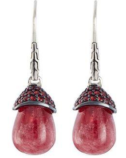 Sapphire Rhodonite Silver Drop Earrings