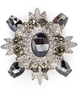 Glass Crystal Rhodium Plated Brooch
