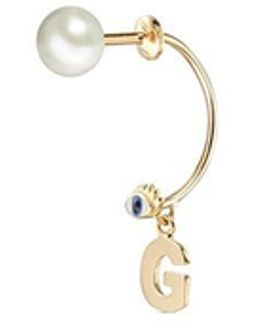 'abc Micro Eye Piercing' Freshwater Pearl 18k Yellow Gold Single Earring – G