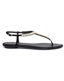 Faux Pearl Strass Embellished Leather Thong Sandals