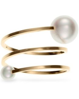 'louise Grand' Akoya Pearl 14k Gold Spiral Ring