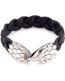 Chalcedony Silver Eagle Braided Leather Bracelet