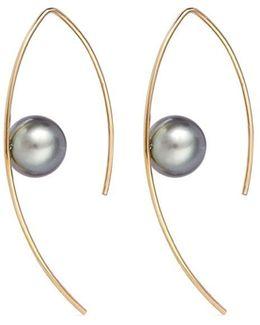 Small Tahitian Pearl 14k Gold Marquise Hoop Earrings