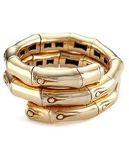 18k Yellow Gold Bamboo Coil Ring