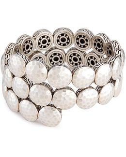 Silver Hammered Disc Coil Bracelet