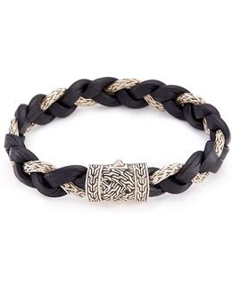 Silver Braided Leather And Chain Bracelet