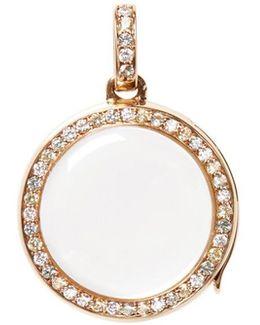 Diamond Sapphire 14k Yellow Gold Pastel Round Locket − 18mm
