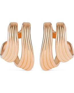 'stream Lines' 18k Rose Gold Double Hoop Earrings