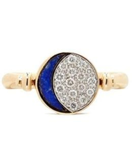 'reversible Moon Phase' Diamond Lapis 18k Gold Ring