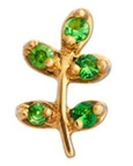18k Yellow Gold Tsavorite Olive Branch Charm - Peace