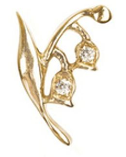 18k Yellow Gold Diamond Lily Of The Valley Charm - Happiness