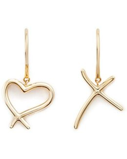 'neon Heart And Kiss' 18k Yellow Gold Asymmetric Earrings