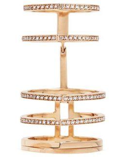 'antifer' Diamond Pavé 18k Rose Gold Six Row Linked Ring