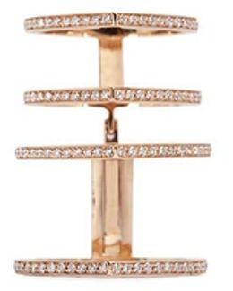 'antifer' Diamond Pavé 18k Rose Gold Four Row Linked Ring