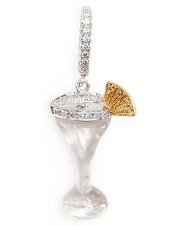 Diamond 18k Gold Martini Charm Pendant