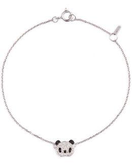 'alto' White And Black Diamond 18k White Gold Panda Bracelet