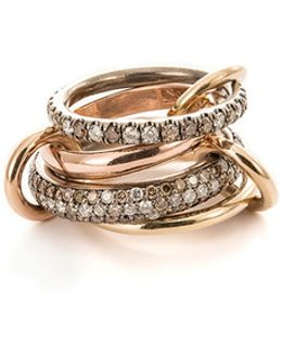 'scorpio' Diamond 18k Rose Gold Silver Four Link Ring