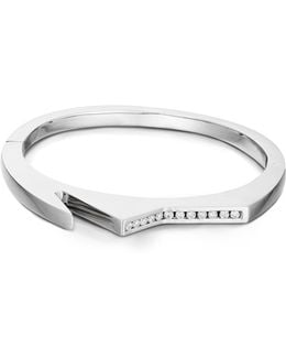 'handcuff 3' Diamond Sterling Silver Hinged Bangle