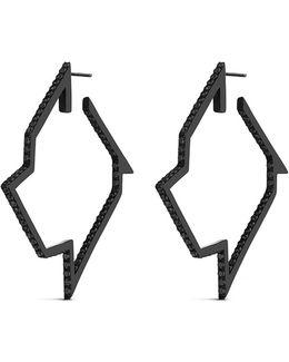 'throwing Star' Diamond Black Rhodium Silver Hoop Earrings