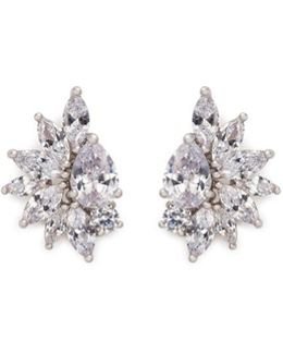 Cubic Zirconia Cluster Clip Earrings