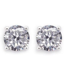 Round Cut Cubic Zirconia Small Stud Earrings