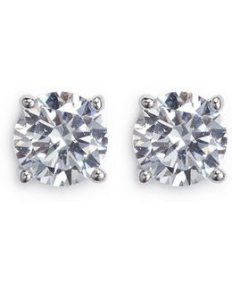 Round Cut Cubic Zirconia Medium Stud Earrings