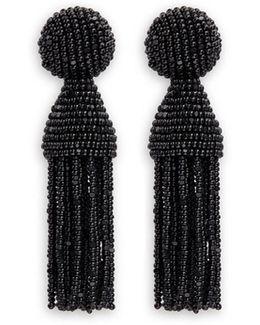 'classic Short' Beaded Tassel Drop Clip Earrings