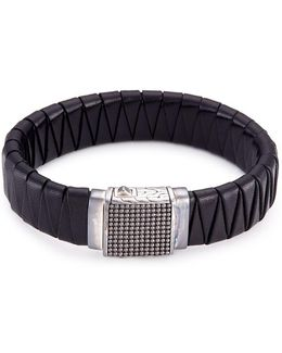 Rhodium Silver Dotted Charm Braided Leather Jawan Bracelet