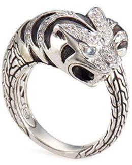 'macan' Diamond Silver Bypass Ring