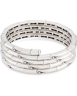 Silver Bamboo Four Row Coil Bracelet