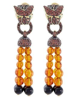 Diamond Sapphire Topaz 18k Yellow Gold Macan Beaded Drop Earrings