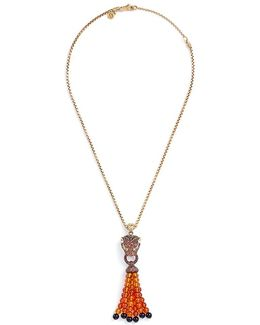 Diamond Sapphire Chaelcedony 18k Yellow Gold Macan Beaded Tassel Necklace