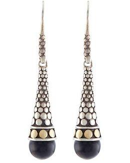 Onyx 18k Yellow Gold Silver Drop Earrings