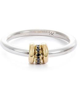 'sirius Sg' Diamond 18k Yellow Gold Silver Ring